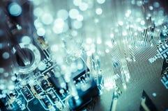 Cavi ottici di Connectivity.Fiber, collegamento della fibra, telecomunicat Fotografia Stock