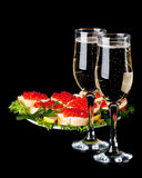 Caviale e champagne rossi Fotografia Stock