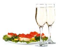 Caviale e champagne rossi Immagini Stock Libere da Diritti