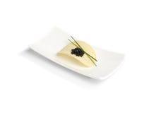 Caviale e patatina fritta neri Immagine Stock