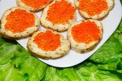 Caviale rosso sui panini Alimento costoso e sano immagine stock