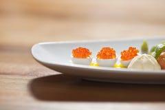 Caviale sulle uova di quaglie Fotografie Stock