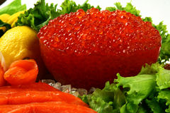 Caviar_1. Red and black caviar delicacy roe macro Royalty Free Stock Photos