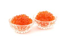 Caviar. Two glass dishes with red caviar Royalty Free Stock Photo