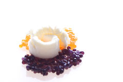 Caviar. Red and black caviar delicacy with butter stock images