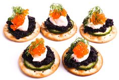 Caviar Appetizer served on crackers Stock Photography