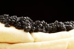 Caviar black with pancakes Royalty Free Stock Image