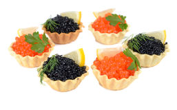 Caviar black and red is in a panary small basket Stock Image
