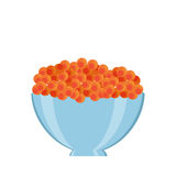 Caviar in bowl. Vector bowl in crate. Natural, healthy food concept. Fresh sea animals collected in the wooden box. Flat design style Royalty Free Stock Images