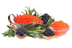 Caviar in bowls Stock Photo