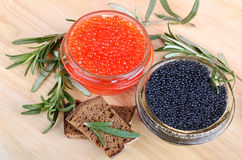 Caviar with bread Stock Images
