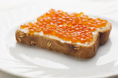Caviar on bread Royalty Free Stock Photo