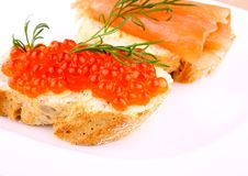 Caviar bread topped with keta salmon eggs Stock Photo
