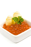 Caviar and butter. Caviar, butter and fresh parsley stock images