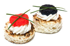 Caviar Canapés On White Stock Image