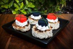 Caviar Canapés Imagen de archivo libre de regalías