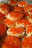 Caviar canape. Canape with caviar close-up shot in natural lighting Stock Image