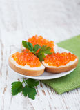 Caviar Canapes Stock Photography