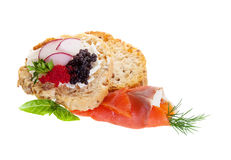 Caviar Canapes. Canapes with smoked salmon and caviar Stock Images