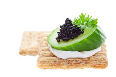 Caviar on crackers Royalty Free Stock Photos