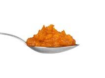 Caviar da polpa da colher em um fundo branco imagens de stock royalty free