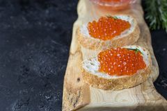 Caviar de los salmones rojos Fotografía de archivo
