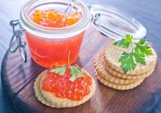 Caviar de los salmones rojos Foto de archivo libre de regalías