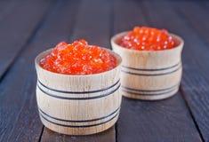 Caviar de los salmones rojos Foto de archivo