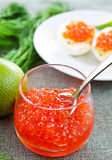 Caviar on dill and lime background Stock Photography