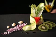 Caviar Dish. With garnishments and sauce stock photos