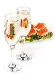 Caviar e champanhe vermelhos fotos de stock royalty free
