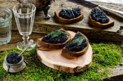 Caviar et vodka noirs Type de cru Photo libre de droits
