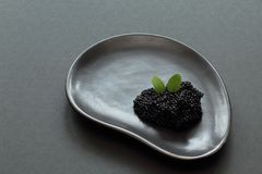 Gourmet. Black salty caviar sterlet decorated with mint leaves on black ceramic plate of unusual shape on black background. royalty free stock images
