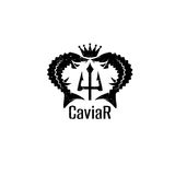 Caviar grunge vector emblem with sturgeons , crown Stock Photography