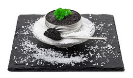 Caviar on ice, spoon Stock Photos