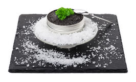 Caviar on ice, spoon Stock Images