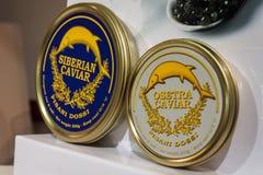Caviar italiano em Golosaria 2013 em Milão, Itália Fotografia de Stock Royalty Free
