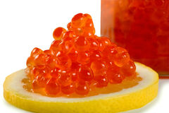 Caviar in lemon Stock Photography