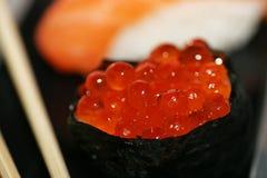 Caviar maki. Sushi detail royalty free stock photo