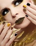 Caviar manicure and makeup. Royalty Free Stock Images