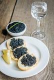 Caviar negro Foto de archivo libre de regalías