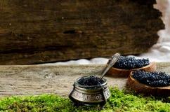 Caviar negro en cornisa Lugar para el texto Foto de archivo libre de regalías