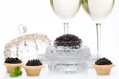 Caviar negro y champán aislados fotografía de archivo