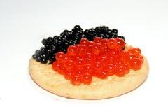 Caviar negro y rojo Imagenes de archivo