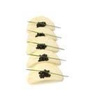 Caviar noir à l'oignon de source Images stock