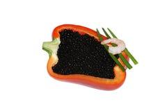 Caviar noir avec le paprika et la crevette rouges Image stock