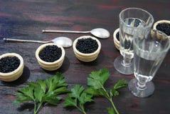Caviar noir et rouge pour des invités et des amis Photos stock
