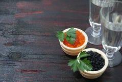 Caviar noir et rouge pour des invités et des amis Images stock