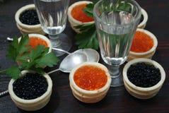 Caviar noir et rouge pour des invités et des amis Photo libre de droits