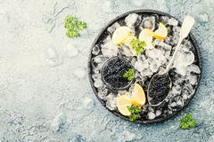 Caviar noir sur la glace photo stock